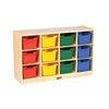Birch 12 Cubby Tray Cabinet w/ Assorted Bins