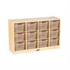 Birch 12 Cubby Tray Cabinet w/ Clear Bins