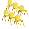 "ECR4Kids 10"" Stack Chair - Matching Legs - YE, set of 6"