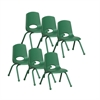 "ECR4Kids 12"" Stack Chair - Matching Legs - GN, set of 6"