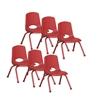 "ECR4Kids 12"" Stack Chair - Matching Legs - RD, set of 6"