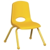 "ECR4Kids 12"" Stack Chair - Matching Legs - YE, set of 6"