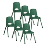 "ECR4Kids 16"" Stack Chair - Matching Legs - GN, set of 6"