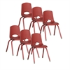 "ECR4Kids 16"" Stack Chair - Matching Legs - RDG, set of 6"