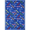 "Joy Carpets Playful Patterns - Children's Area Rugs Crayons, 5'4"" x 7'8"", Blue"