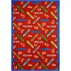 "Joy Carpets Playful Patterns - Children's Area Rugs Crayons, 3'10"" x 5'4"", Red"