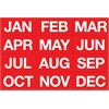 Magnetic MONTH HEADINGS WHITE ON RED