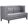 ARMEN LIVING Noho Loveseat In Silver Satin Fabric
