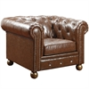 ARMEN LIVING Winston Vintage Mocha Bonded Leather Sofa Chair