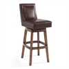 "Armen Living Wayne 26"" Counter Height Swivel Wood Barstool in Chestnut Finish and Kahlua Pu"