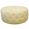 ARMEN LIVING Victoria Ottoman In Ivory Bonded Leather