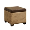Antique Vintage Brown Storage Ottoman With Natural Jute And Accent Nails