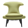 Aria Chair in Black Wood finish with Green Fabric upholstery