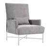 York Contemporary Accent Chair In Gray Chenille and Steel Finish