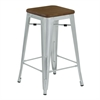 Backless Angelo Industrial Barstool in Brushed Galvanized Steel Finish with Walnut Wood Seat