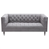 Bellagio Loveseat in Grey Wash Wood finish with Shiny Silver Legs Caps and Mist Fabric upholstery