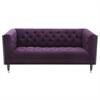 Bellagio Loveseat in Black Wash Wood finish with Shiny Silver Legs Caps and Purple Fabric upholstery