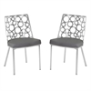 Berlin Dining Chair in Gray Pu and Brushed Stainless Steel (Set of 2)