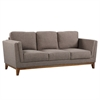 Brussels Modern Sofa in Brown Linen and Walnut Legs