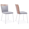 Armen Living Brooke Dining Chair in Brushed Stainless Steel finish with Grey Pu upholstery and Walnut Back (Set of 2)