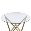 Crest End Table in Brushed Gold finish with Clear Glass Top