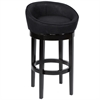 "ARMEN LIVING Igloo Black Microfiber 30"" Swivel Barstool with Ebony Finished Legs"