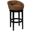 "ARMEN LIVING Igloo Brown Microfiber 30"" Swivel Barstool with Ebony Finished Legs"