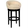 "ARMEN LIVING Igloo Crème Microfiber 26"" Swivel Barstool with Ebony Finished Legs"