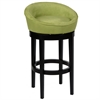 "Igloo Green Microfiber 30"" Swivel Barstool with Ebony Finished Legs"