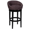 "Igloo Eggplant Microfiber 26"" Swivel Barstool with Ebony Finished Legs"