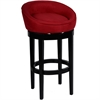 "Igloo Red Microfiber 26"" Swivel Barstool with Ebony Finished Legs"