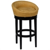 "Igloo Yellow Microfiber 30"" Swivel Barstool with Ebony Finished Legs"