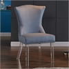 Jade Modern and Contemporary Dining Chair in Blue Fabric with Nailheads and Acrylic Legs
