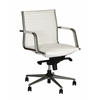 Leo Modern Office Chair In White and Powder Coated Gray Metal