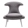 Marilyn Chair in Brushed Steel finish with Mist Fabric upholstery