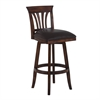 "Madison 26"" Counter Height Swivel Wood Barstool in Pecan Finish and Brown Pu"
