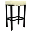 "ARMEN LIVING Tudor 30"" Stool Cream Bonded Leather with Chrome Nails"
