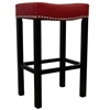 "ARMEN LIVING Tudor 30"" Stool Red Bonded Leather with Chrome Nails"