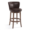 "Lisbon 26"" Counter Height Swivel Wood Barstool in Chestnut Finish and Kahlua Pu"