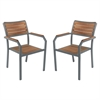 Minsk Outdoor Patio Dining Chair in Gray Powder Coated Finish and Teak Wood - Set of 2