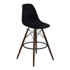 Nicos Mid-Century Barstool in Walnut Wood and Durable Molded Plastic Black Seat