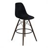 Nicos Mid-Century Barstool in Walnut Wood and Durable Molded Plastic Black Seat