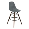 Nicos Mid-Century Barstool in Walnut Wood and Durable Molded Plastic Gray Seat