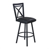 "Armen Living Nova 26"" Counter Height Metal Swivel Barstool in Ford Black Pu and Black Finish"