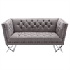 Odyssey Loveseat in Brushed Steel finish with Grey Tweed upholstery and Black Nail heads