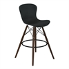 Orion Mid-Century Barstool in Walnut Wood with Durable Molded Plastic Black Seat