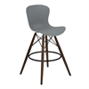 Orion Mid-Century Barstool in Walnut Wood with Durable Molded Plastic Gray Seat