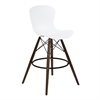 Orion Mid-Century Barstool in Walnut Wood with Durable Molded Plastic White Seat