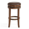 "Phoenix 26"" Counter Height Swivel Wood Barstool in Chestnut Finish and Kahlua Pu"