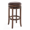 "Phoenix 30"" Bar Height Swivel Wood Barstool in Chestnut Finish and Kahlua Pu"